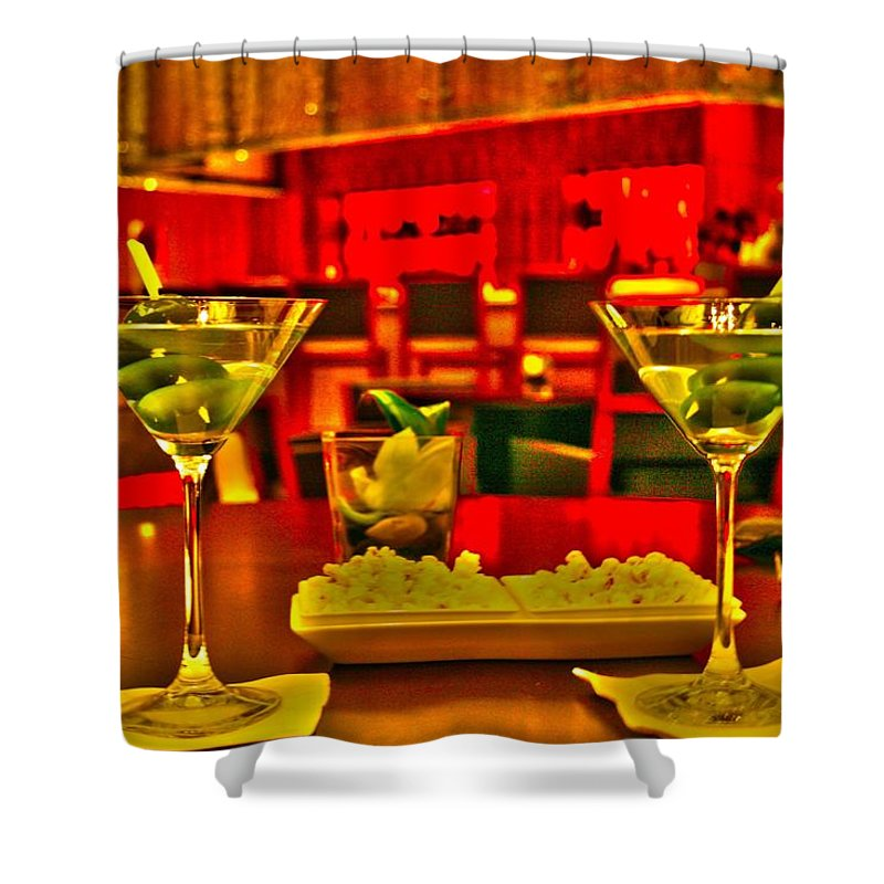 Martini Shower Curtain featuring the mixed media Martini Time by Alicia Kent