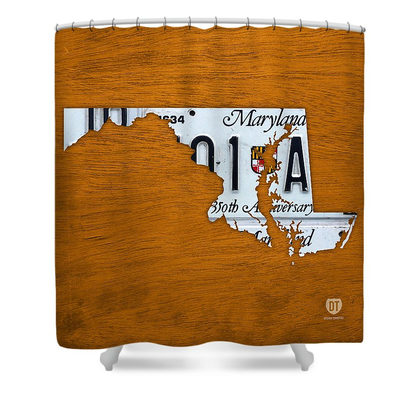Maryland Shower Curtain Featuring The Mixed Media State License Plate Map By Design Turnpike
