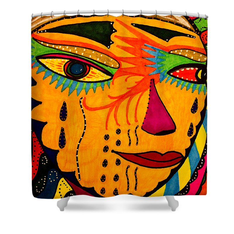 Mask Shower Curtain featuring the painting Masks We Wear - Face by Marie Jamieson