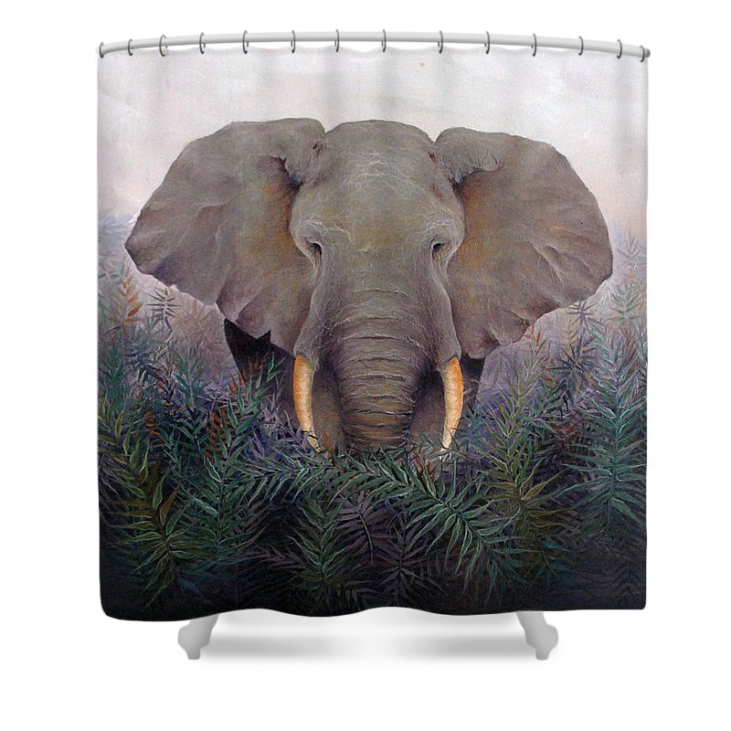 Elephant Endangered Wildlife Animals Africa Nature Shower Curtain featuring the painting Matriarch by Mary Zins