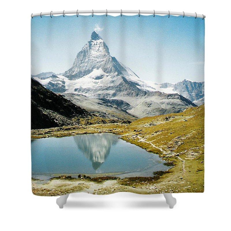 Alps Shower Curtain featuring the photograph Matterhorn Cervin Reflection by Mary Ellen Mueller Legault