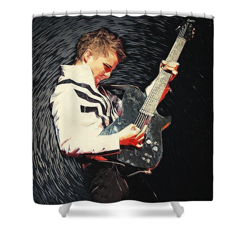 Matthew Bellamy Shower Curtain featuring the digital art Matthew Bellamy by Zapista OU