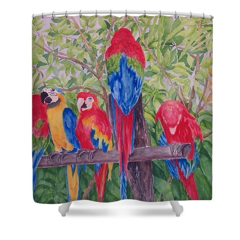 Macaw Shower Curtain featuring the painting Maui Macaws by Rhonda Leonard
