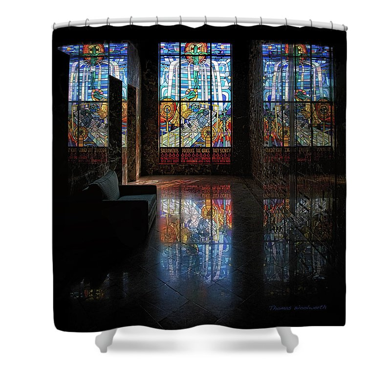 Glass Art Shower Curtain featuring the photograph Mausoleum Stained Glass 08 by Thomas Woolworth