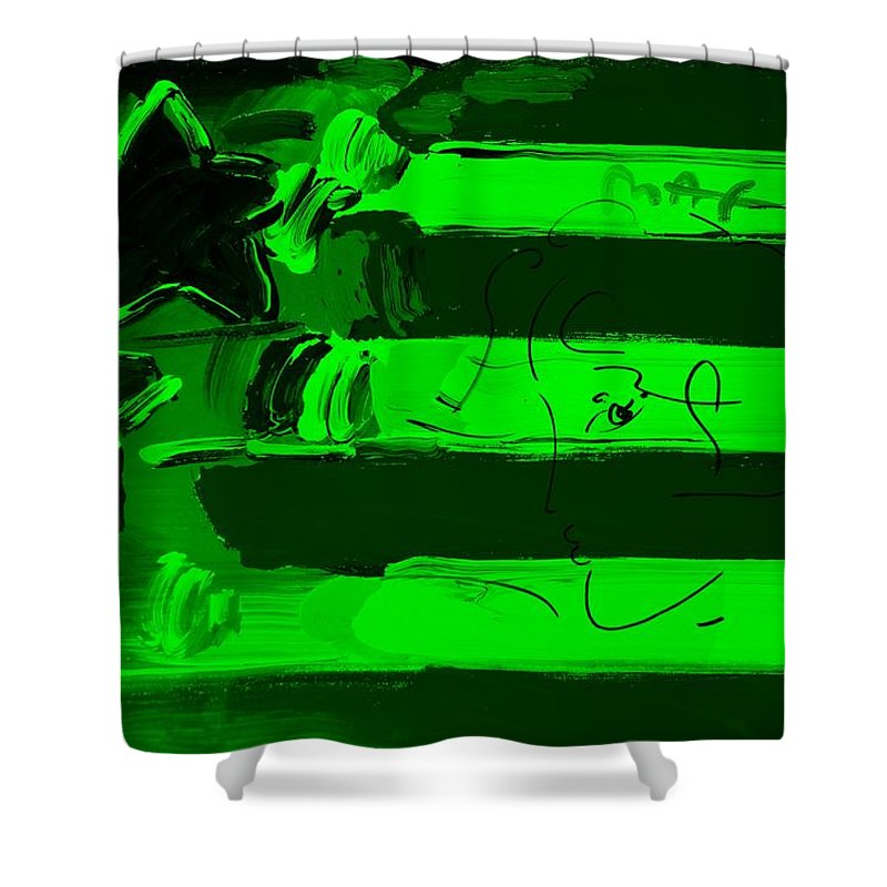 Modern Shower Curtain featuring the photograph Max Stars And Stripes In Green by Rob Hans