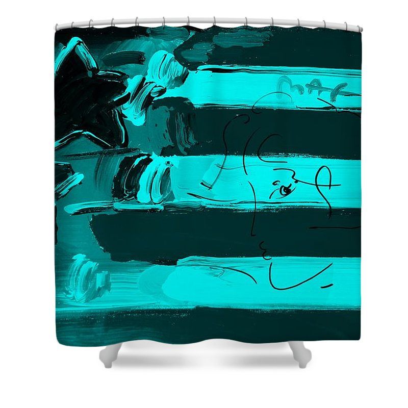 Modern Shower Curtain featuring the photograph Max Stars And Stripes In Turquois by Rob Hans