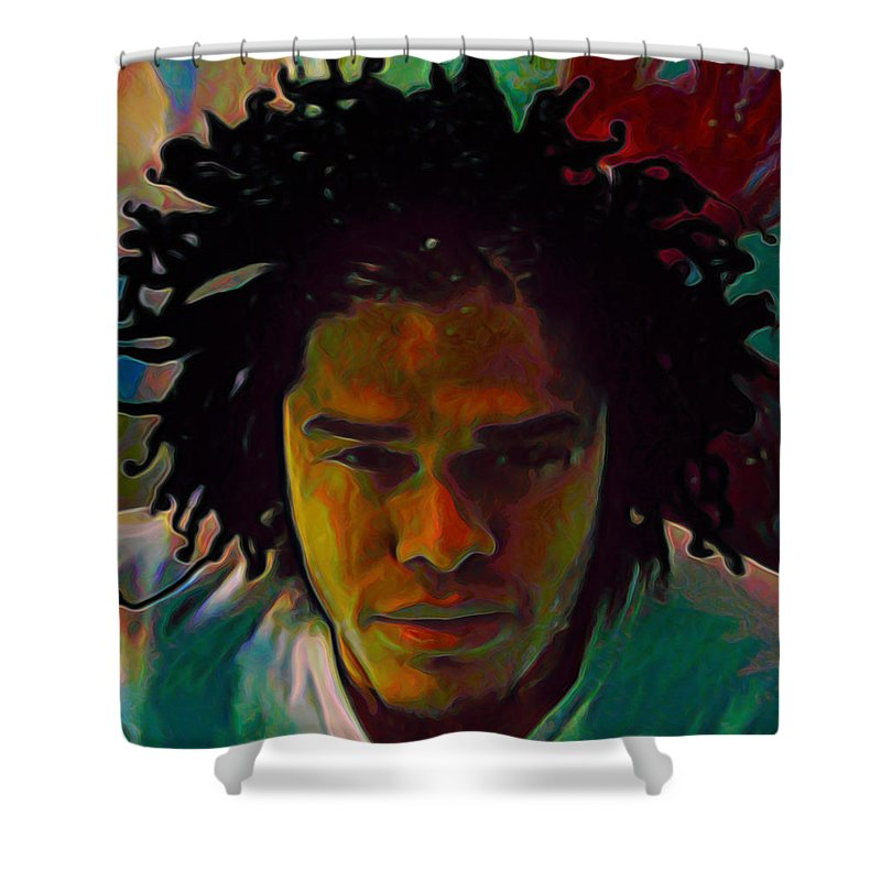 Maxwell Shower Curtain featuring the painting Maxwell by Fli Art