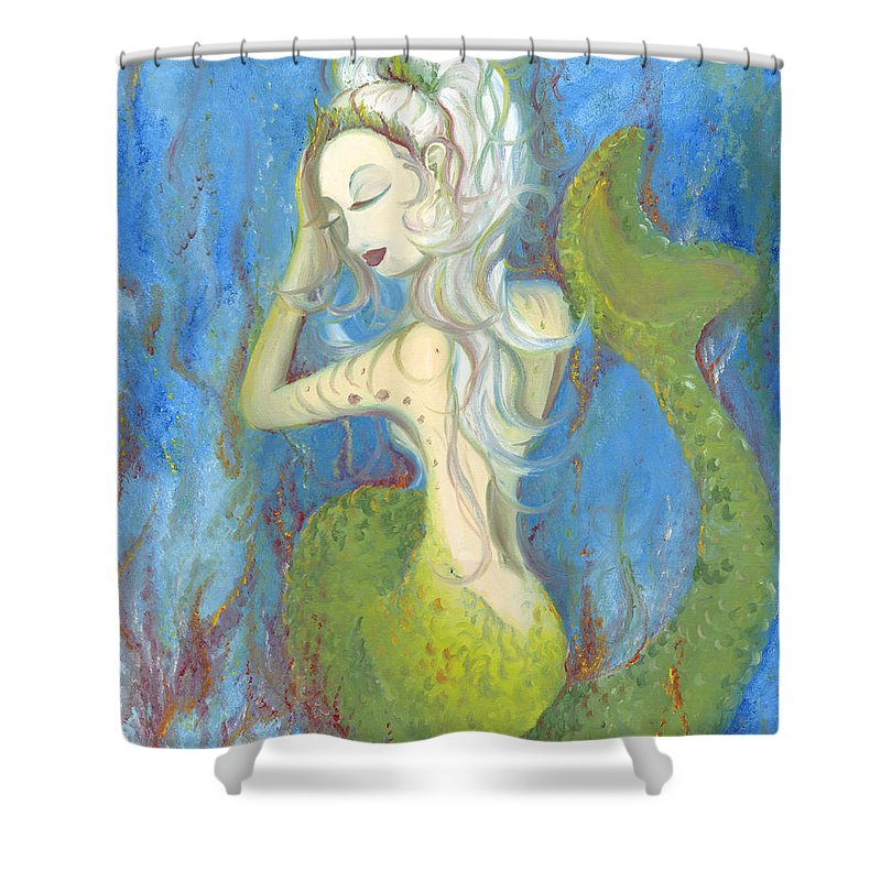 Mermaid Shower Curtain featuring the painting Mazzy The Mermaid Princess by Stephanie Broker