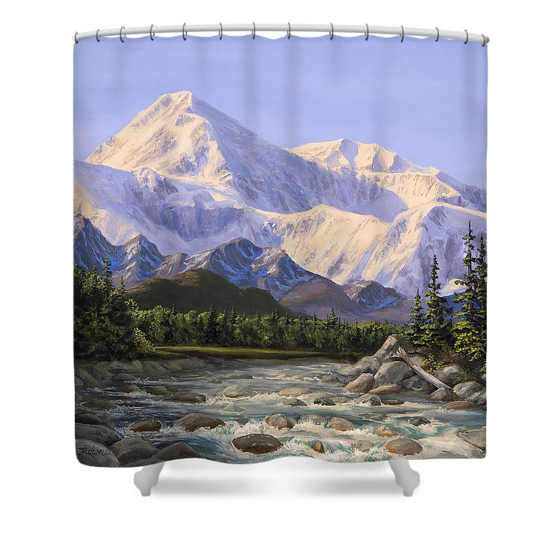 Alaska Landscape Shower Curtain featuring the painting Majestic Denali Mountain Landscape - Alaska Painting - Mountains And River - Wilderness Decor by Karen Whitworth
