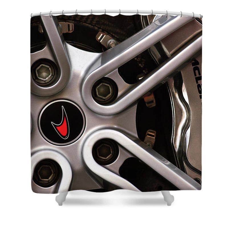 Mclaren Wheel Emblem Shower Curtain featuring the photograph Mclaren Wheel Emblem by Jill Reger
