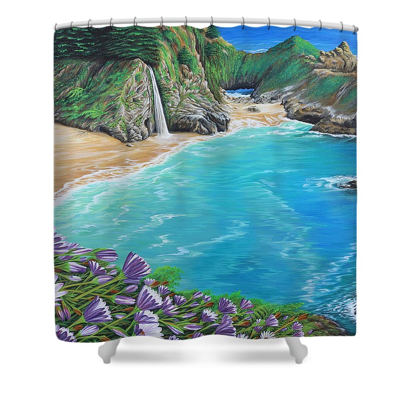 Beach Shower Curtain featuring the painting Mcway Falls by Jane Girardot