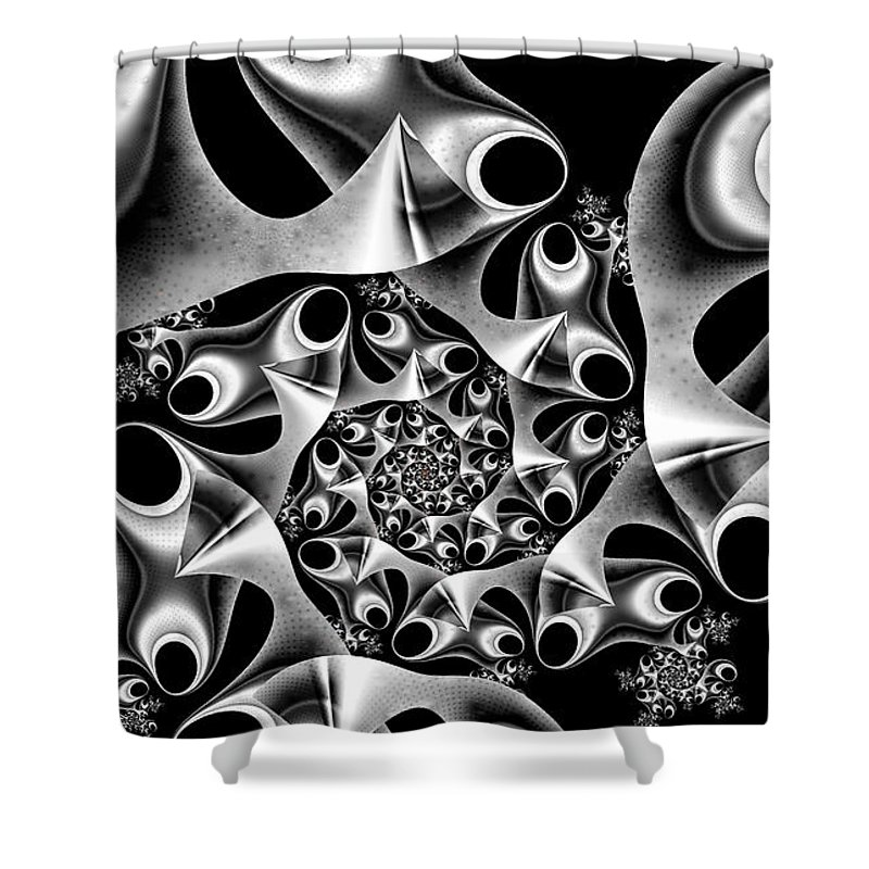 Mechanica Shower Curtain featuring the digital art Mechanica by Kimberly Hansen