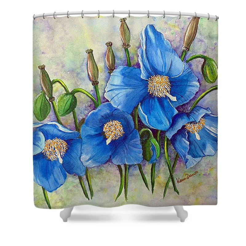 Blue Hymalayan Poppy Shower Curtain featuring the painting Meconopsis  Himalayan Blue Poppy by Karin Dawn Kelshall- Best
