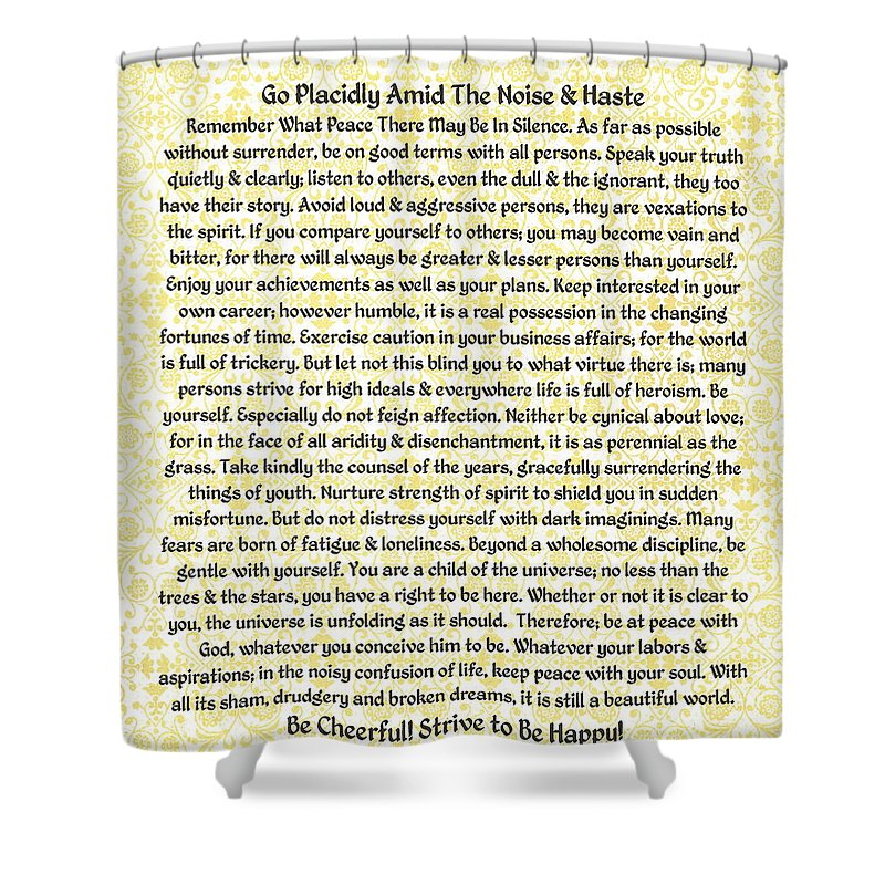 Desiderata Shower Curtain featuring the mixed media Medieval Provencal Desiderata Poster by Desiderata Gallery