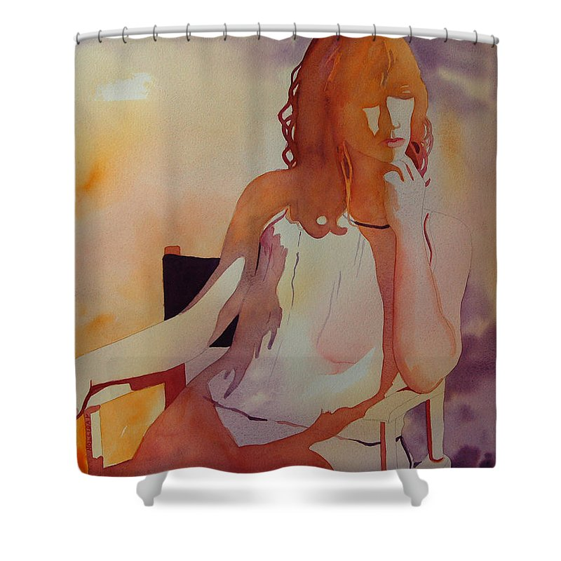 Woman Shower Curtain featuring the painting Meditation by Terry Holliday