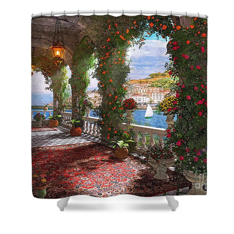 Roses Shower Curtain Featuring The Digital Art Mediterranean Verander By MGL Meiklejohn Graphics Licensing