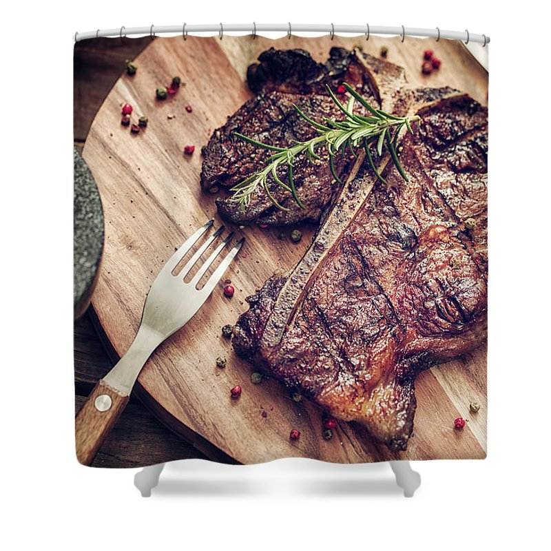 Rosemary Shower Curtain featuring the photograph Medium Roasted T-bone Steak by Gmvozd
