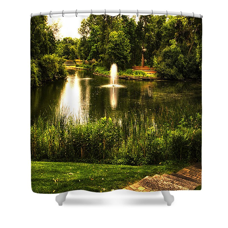 Pond Shower Curtain featuring the photograph Meet Me By The Fountain by Thomas Woolworth