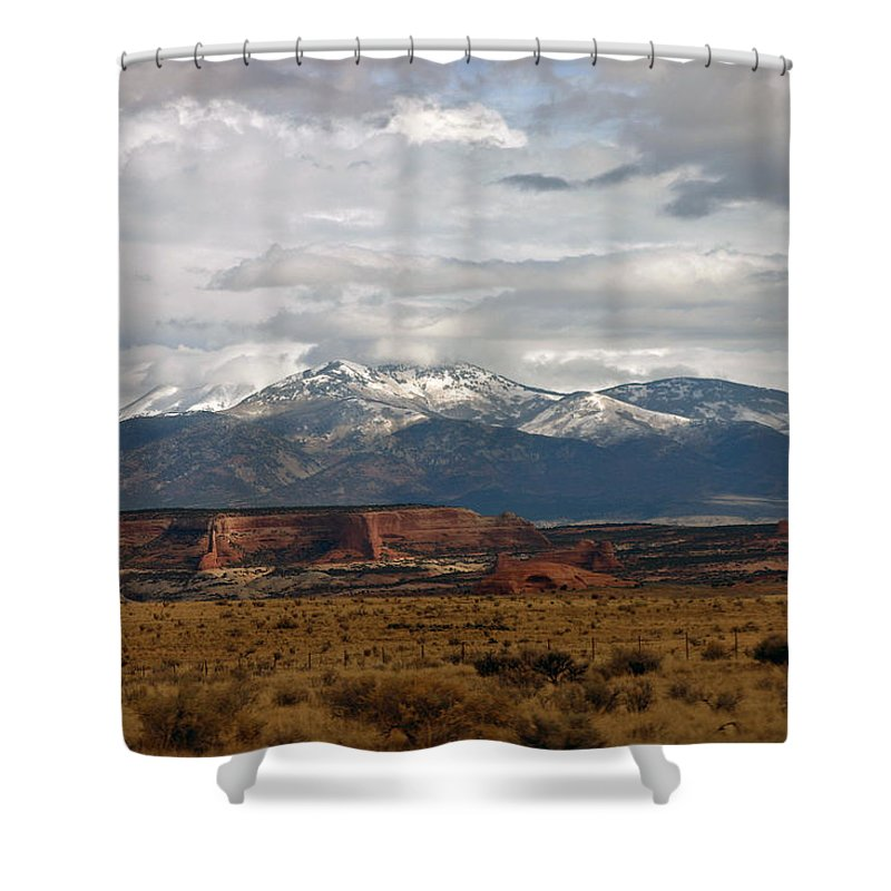 Mountains Shower Curtain featuring the photograph Meeting Of The Mountains And Desert by Hugh Carino
