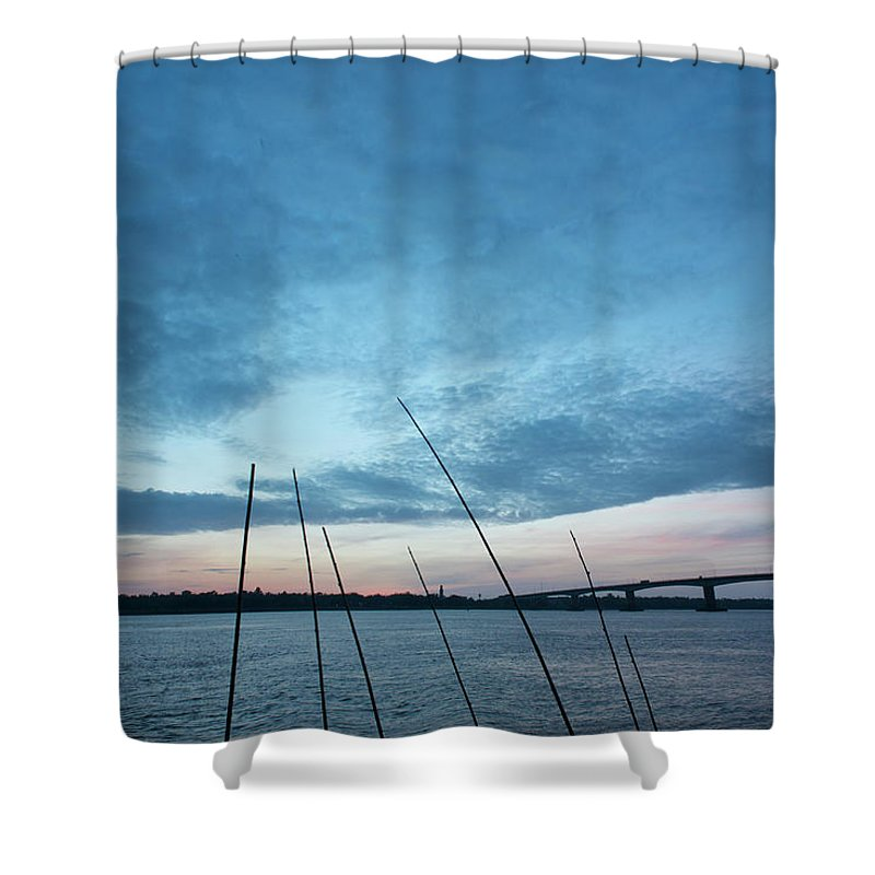 Scenics Shower Curtain featuring the photograph Mekong River At Dawn With Bridge by Eitan Simanor