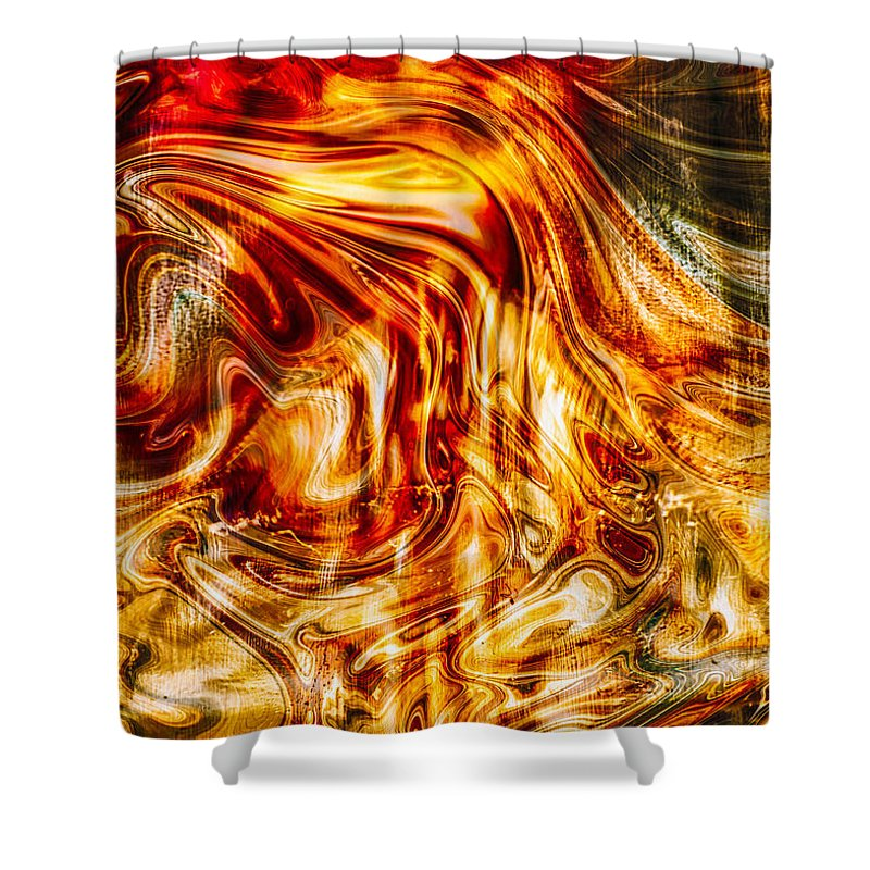 Georgia Okeefe Shower Curtain featuring the painting Melting Gold by Omaste Witkowski