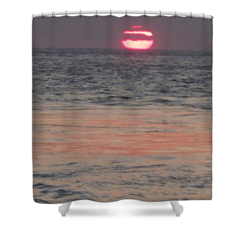 Photography Shower Curtain featuring the photograph Melting Sun Into The Cool Sea by Eric Schiabor