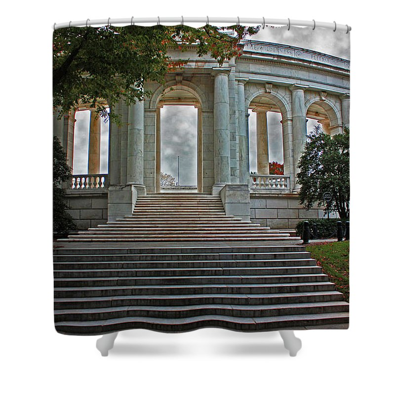 Arlington National Cemetery Shower Curtain featuring the photograph Memorial Ampitheater by Suzanne Stout