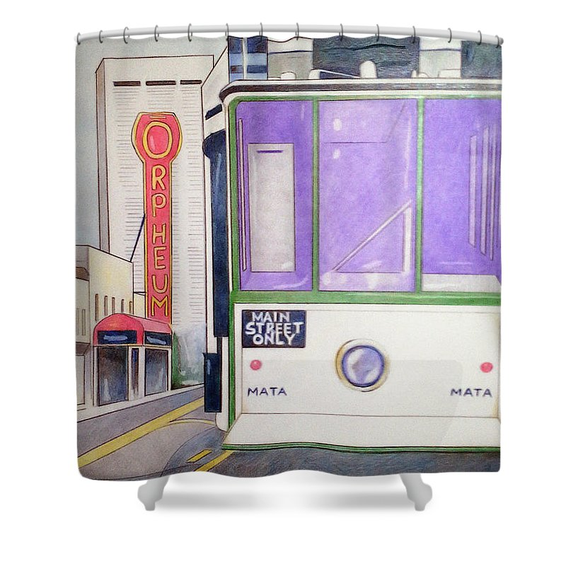 Landscape Shower Curtain featuring the drawing Memphis Trolley by Loretta Nash