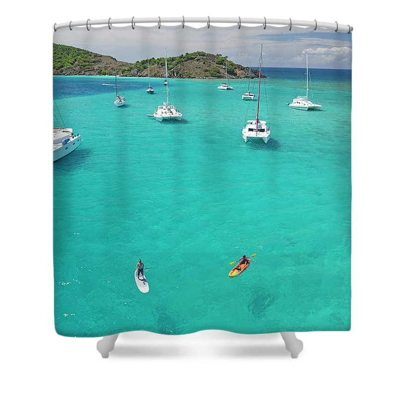 Scenics Shower Curtain featuring the photograph Men Doing Water Activities by Karl Weatherly