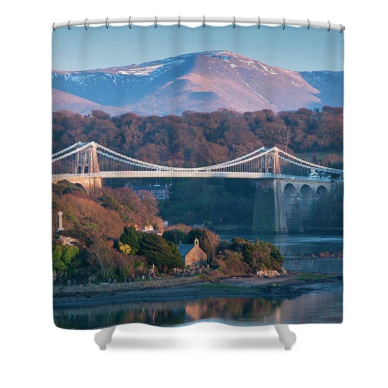 Menai Straits Shower Curtain featuring the photograph Menai Bridge And Menai Straits by Alan Novelli