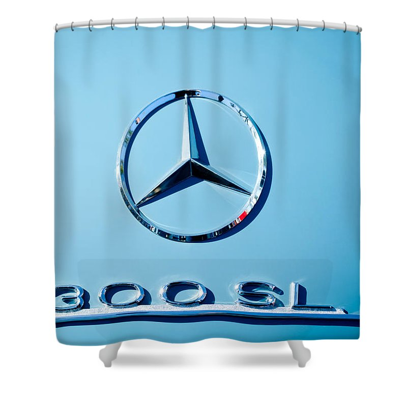 Mercedes 300 Sl Emblem Shower Curtain featuring the photograph Mercedes 300 Sl Emblem -0190c by Jill Reger