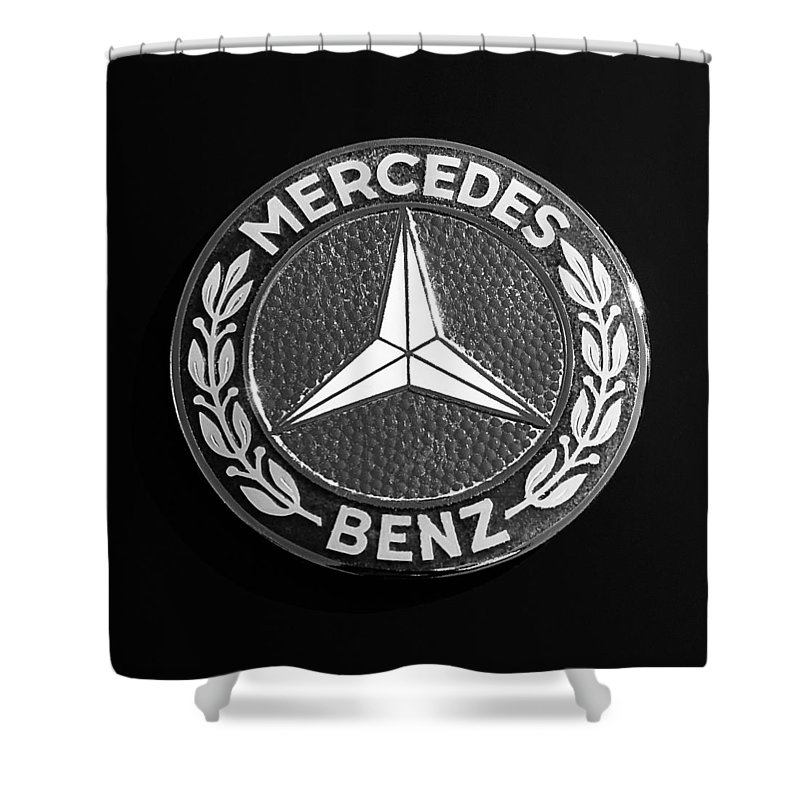 Mercedes benz 190sl emblem shower curtain for sale by jill for Mercedes benz badges for sale