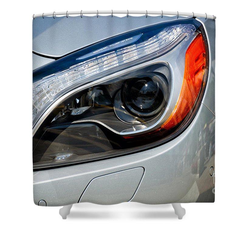 Mercedes Shower Curtain featuring the photograph Mercedes Benz Light by Les Palenik