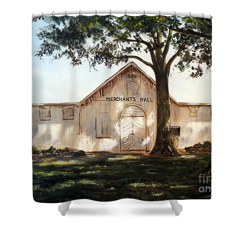 Country Shower Curtain featuring the painting Merchants Hall by Lee Piper