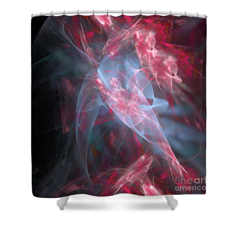 Abstract Shower Curtain featuring the digital art Mercy And Truth Have Met Together Righteousness And Peace Have Kissed by Margie Chapman