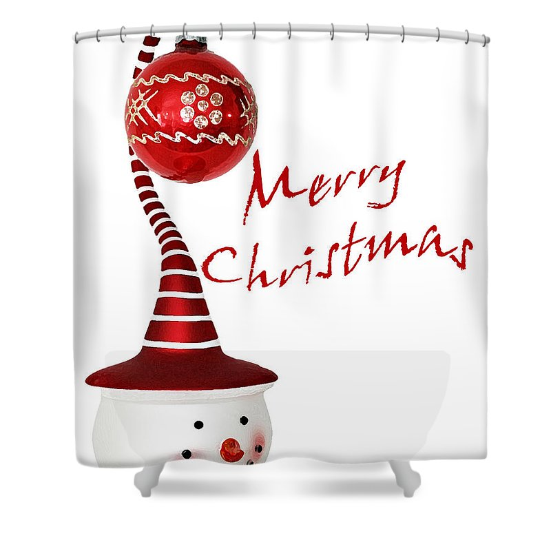 Snowman Shower Curtain featuring the photograph Merry Christmas by Debby Richards