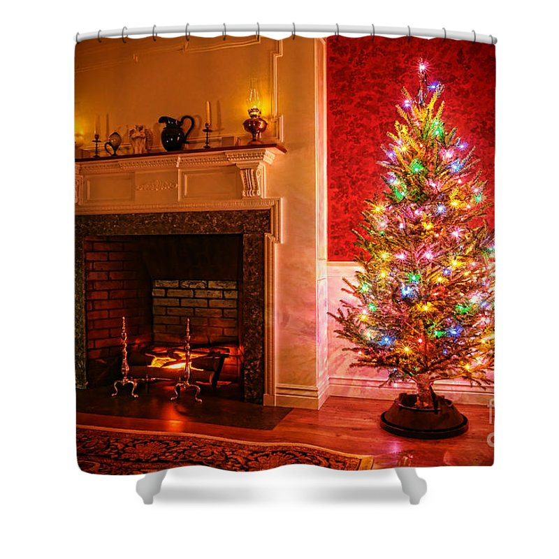 Merry Christmas Shower Curtain featuring the photograph Merry Christmas Fireplace by Olivier Le Queinec