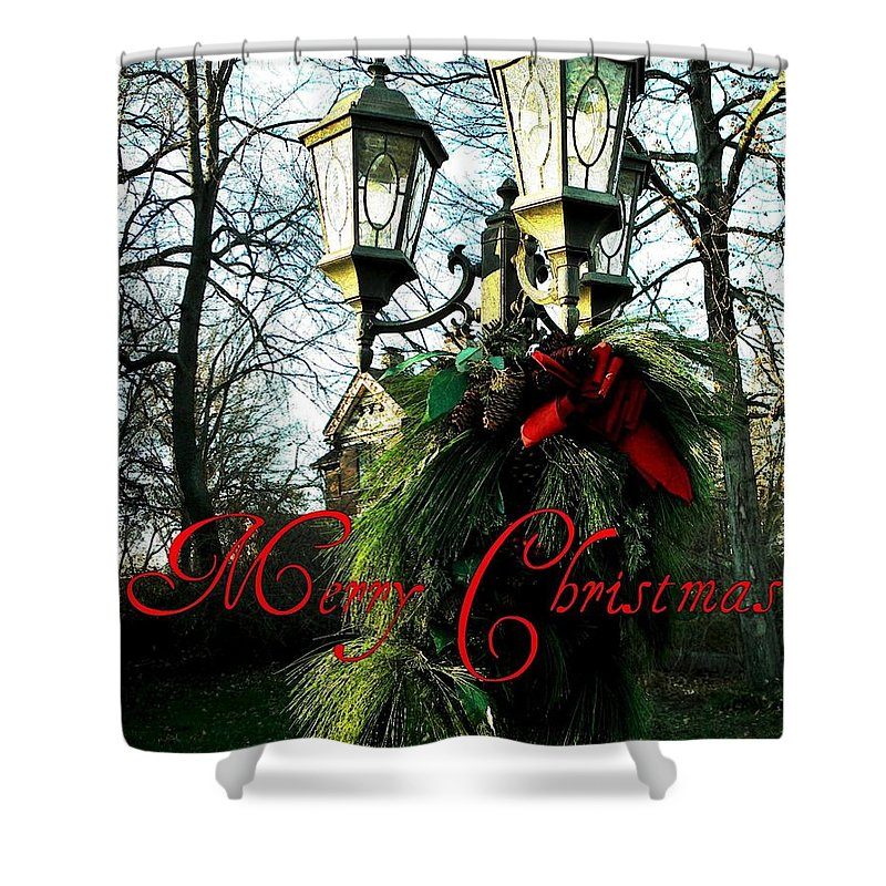 Nature Shower Curtain featuring the photograph Merry Christmas Greeting Card by Chris Berry