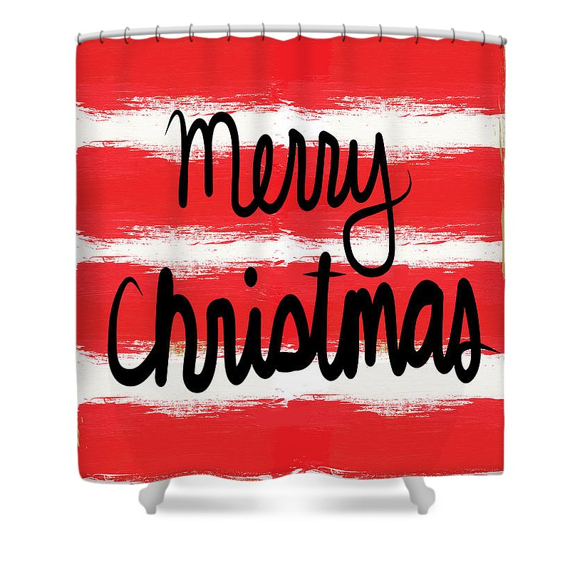 Christmas Card Shower Curtain featuring the mixed media Merry Christmas- Greeting Card by Linda Woods