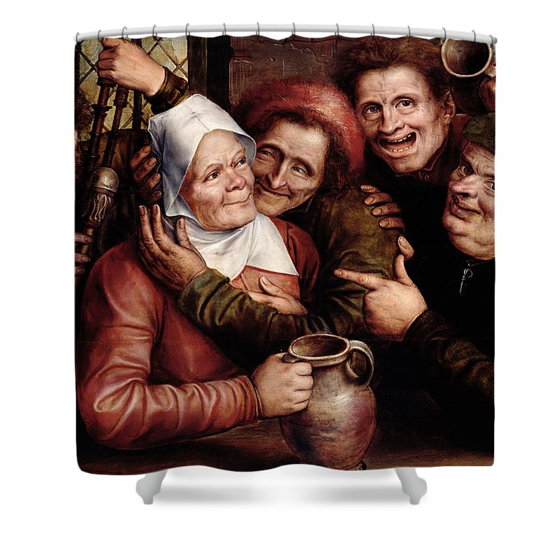 Merry Company Shower Curtain featuring the painting Merry Company by Jan Massys or Metsys