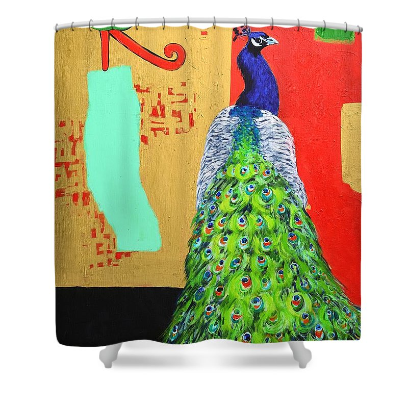 Peacock Shower Curtain featuring the painting Messages by Ana Maria Edulescu