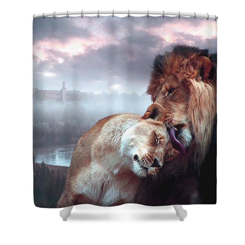 Lions Shower Curtain featuring the digital art Yeshua Loves Israel by Bill Stephens