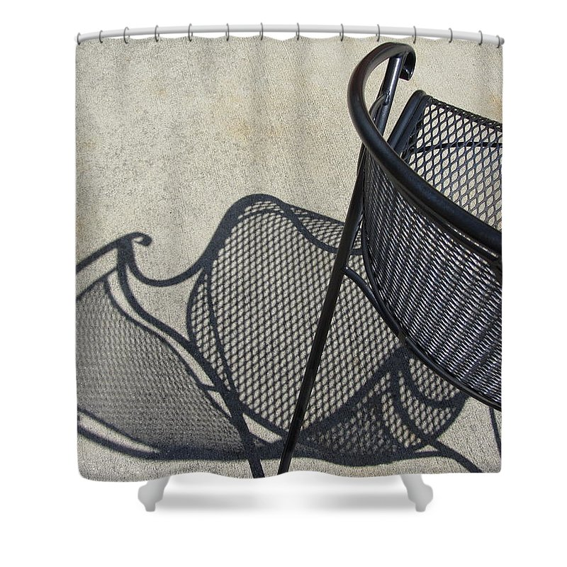 Chair Shower Curtain featuring the photograph Metal Chair And Shadow 5 by Anita Burgermeister