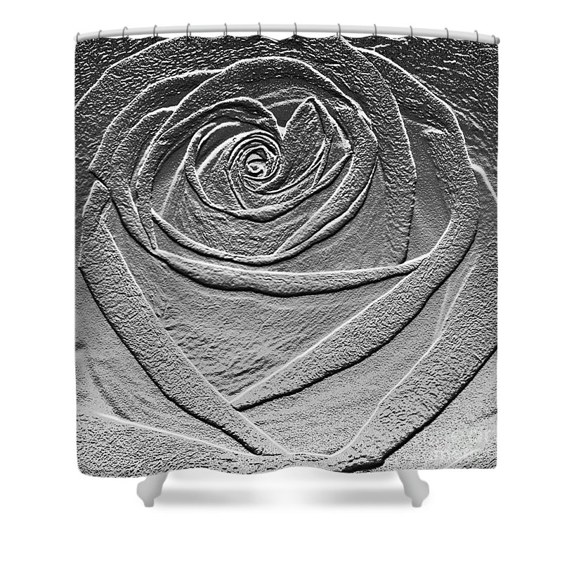 Rose Shower Curtain featuring the digital art Metal Rose by Carol Lynch