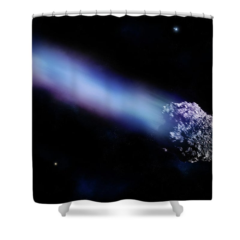 Comet Shower Curtain featuring the digital art Meteor With Colorful Tail by Maciej Frolow
