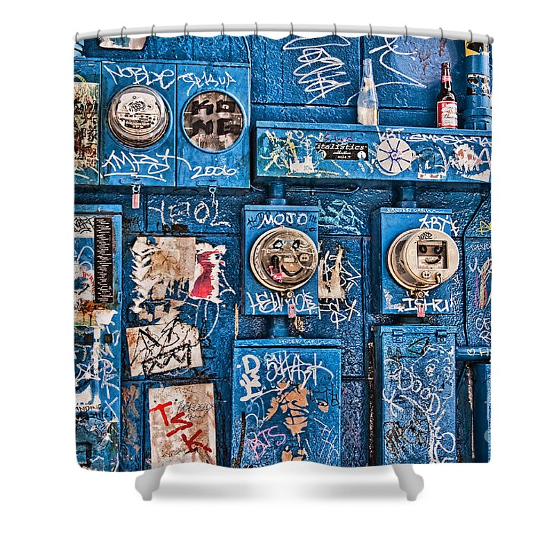 Meters Shower Curtain featuring the photograph Meter Graffiti New Orleans Style by Kathleen K Parker