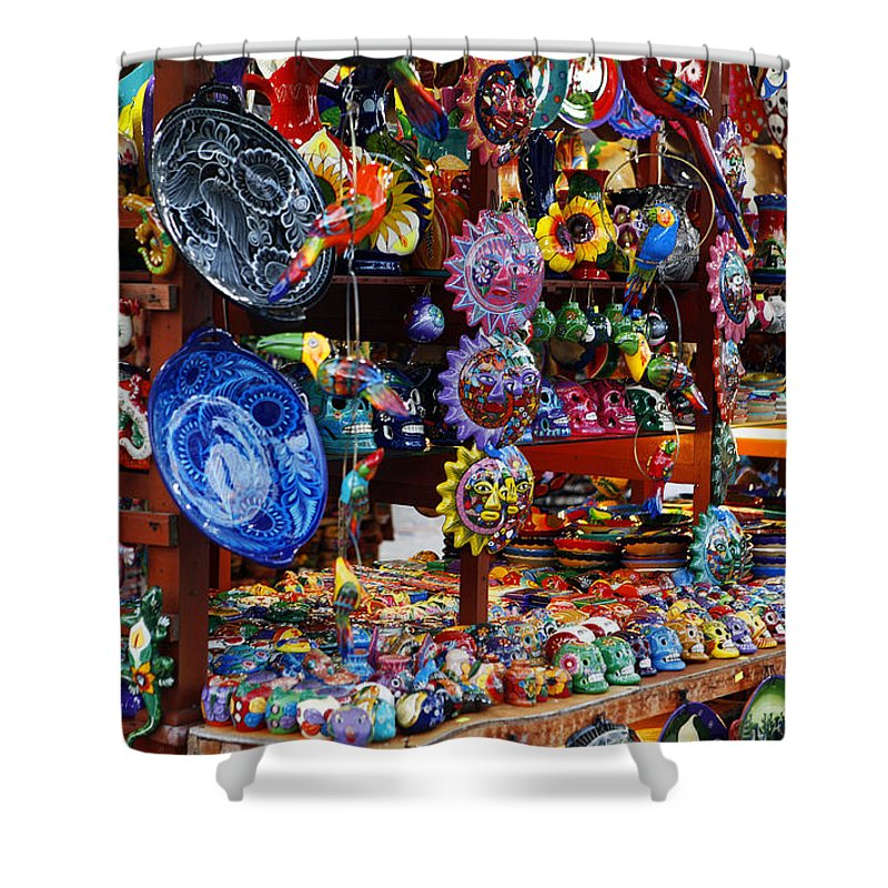 Mexico Shower Curtain Featuring The Photograph Mexican Arts And Crafts By Marilyn Hunt