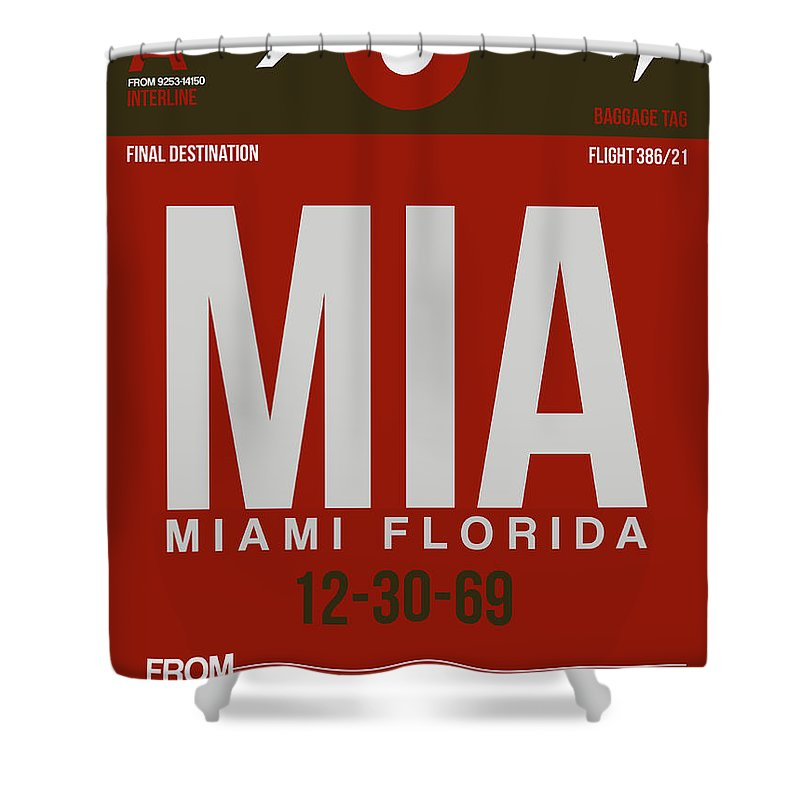 Shower Curtain Featuring The Digital Art Mia Miami Airport Poster 4 By Naxart Studio