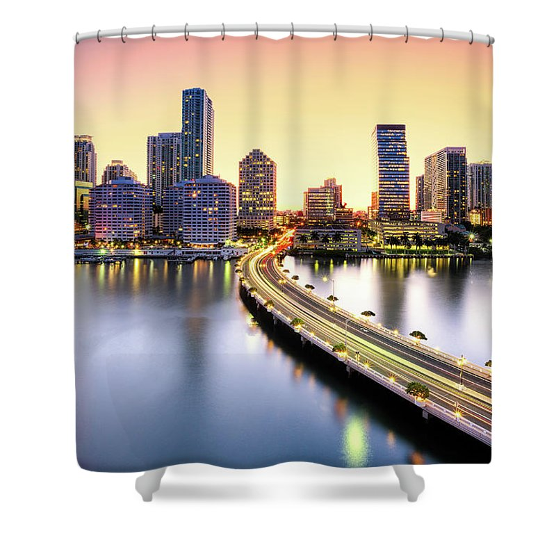 Hotel Shower Curtain featuring the photograph Miami by Eddie Lluisma
