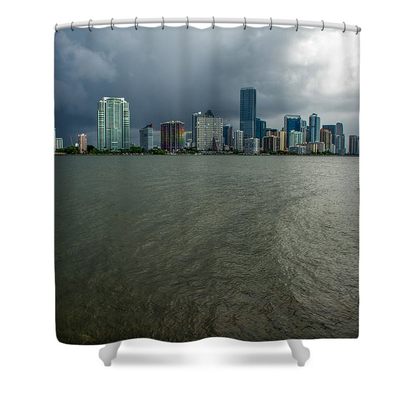 Skyline Shower Curtain featuring the photograph Miami Skyline Storm by Manuel Lopez